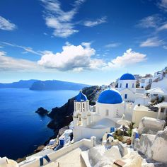 "Santorini Island in Greece. This is the main town called ""Phira"". Santorini is a volcano island. Get a travel itinerary for Santorini at www.Guidora.com"
