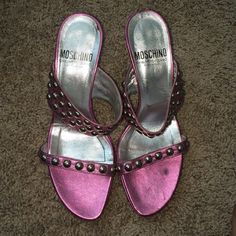 Moschino cheap & chic heels Moschibo Cheap & Chic pink metallic heels with studs on them. Lightly worn! Moschino Shoes Heels