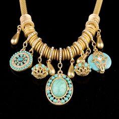 "NEW Pave Crystal Gold Aqua Pearl Resin Pendant Statement Necklace Bib 18"" Women #PendantChainResinBib"