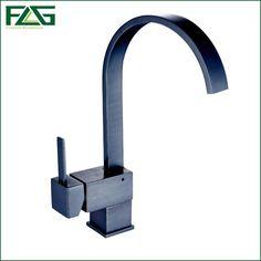 FLG Kitchen Faucet Square Waterfall Oil Rubbed Bronze Kitchen Faucets 360 Degree Rotating Torneira Monocomando Black Mixer C058