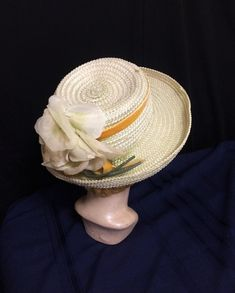Vintage Green Straw Wide Brim Hat with Matching Cabbage Rose Gold Velvet Ribbon Size 22 Women's Clothing Sun Beach Summer Hat Vintage Hats, Vintage Ladies, Toddler Summer Dresses, Cabbage Roses, Wide-brim Hat, Velvet Ribbon, Summer Hats, Vintage Green, Green Colors