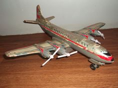 Old vintage battery operated Louis Marx & Co tin aircraft of 50's, made in Japan #Marx