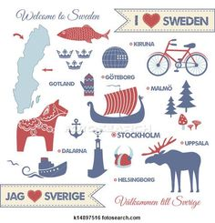 Clip Art of Set with symbols and map of Sweden - Search Clipart, Illustration Posters, Drawings, and EPS Vector Graphics Images - Learn Swedish, Swedish Girls, Swedish Style, Swedish Decor, Sweden Map, Sweden Travel, Italy Travel, Swedish Symbols, Voyage Suede