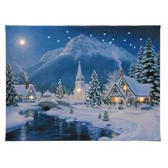 """Christmas Time Country House on Stream Illuminated Lighted Canvas 12"""" x 16"""" NEW"""
