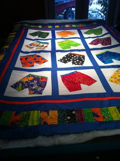 My son's boxer short quilt! Lots of fun with bright colors!