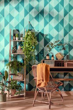 A painterly style geometric triangular design, featuring a modern colour scheme and contrasting effect. Order your samples today from WallpaperDirect. Aqua Wallpaper, Blue Wallpapers, Modern Color Schemes, Modern Colors, Web Design, Pattern Matching, Green Life, Deco, Color
