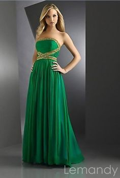 green strapless beaded chiffon evening dress floor length. $199.00, via Etsy.