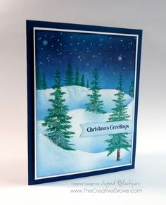 Great video tutorial on how to sponge snow drifts for winter scenes Christmas Tree Cards, Holiday Cards, Christmas Cards, Christmas Ideas, Handmade Card Making, Card Making Tutorials, Winter Cards, Copics, Watercolor Cards