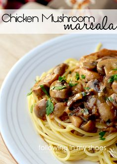 Chicken & Mushroom Marsala Pasta Recipe | @rachellacy from Following In My Shoes