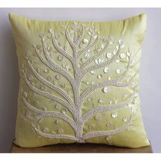 Decorative Throw Pillow Covers Accent Pillow Couch Pillow 16 Inch Silk Throw Pillow Cover Mother Of Pearl Embroidered Yellow Tree Home Decor on Etsy, $26.50