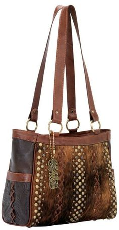 American West River Rock Chocolate Hair-on-Hide 3-Compartment Tote available at #Sheplers