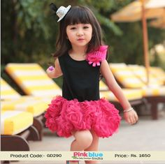 Elegant Sleeveless Black and Pink Floral Party Dress for Baby Girls @Looksgud.in…