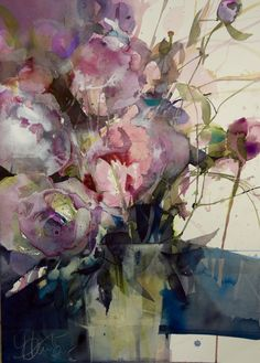Watercolor flowers by Elke Memmler - watercolor still life - Watercolor Artists, Abstract Watercolor, Watercolor And Ink, Watercolor Flowers, Watercolor Paintings, Watercolors, Art Aquarelle, Arte Floral, Abstract Flowers