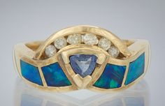 ✿ A Ladies' Tanzanite, Diamond and Opal Inlay Gold Ring