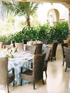 La Tavola Fine Linen Rental: Spice Islands Porcelain | Photography: Brumley & Wells, Wedding Planning: We Tie The Knots, Floral Design: Siloh Floral Artistry, Venue: The Inn at Rancho Santana