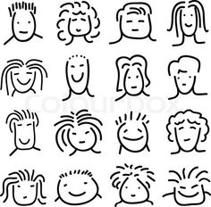 Vector of 'various doodle people faces set'