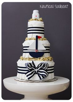 Nautical Baby Boutique Style Diaper Cake by laurawopp on Etsy, $90.00