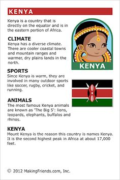 MakingFriends Facts about Kenya Printable Thinking Day fact card for our passports. Perfect if you chose Kenya for your Girl Scout Thinking Day or International Night celebration. Teaching Geography, World Geography, Facts About Kenya, Harmony Day, Around The World Theme, Little Passports, World Thinking Day, Worksheets, Facts For Kids