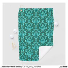 Damask Pattern: Teal Golf Towel Golf Towels, Golf Accessories, Golf Shoes, Golf Ball, Teal Blue, Damask, Golf Clubs, Create Yourself, Pattern