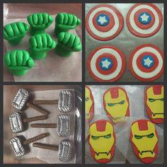 Avenger superhero cupcake toppers - fondant superhero party in 2019 festa v Avenger Cupcakes, Avenger Cake, Superhero Cupcake Toppers, Superhero Cake, Avengers Superheroes, Marvel Avengers, Iron Man Party, Avengers Birthday Cakes, Marvel Cake
