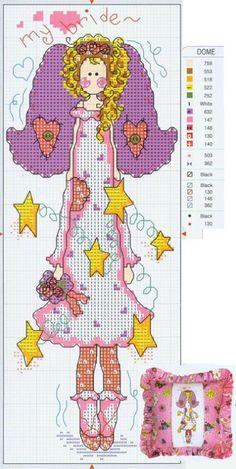 0 point de croix femme dans une guirlande d'étoiles - cross stitch woman, girl and garland of stars