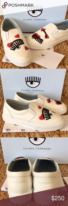 NIB Chiara Ferragni Leather Trainers/Sneakers 39 Super cute white leather Chiara Ferragni slip on Trainers /Sneakers. The original Eye wink brand!Signature eye wink with hearts! So cute!!! Hearts are perfect for Valentine's Day or just to spread the much needed vibe of love!!! New in Box with dustbags. Size 40 fits a 9-9.5 best and size 39 fits an 8-8.5 best. Chiara Ferragni Shoes Sneakers