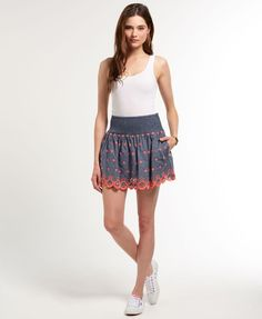 Womens - Daisy Broderie Skirt in Light Chambray | Superdry