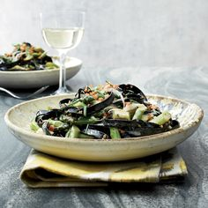 Squid Ink Pasta with Asparagus // More Fast and Easy Pastas: http://www.foodandwine.com/slideshows/fast-pasta #foodandwine  #cuttlefishinkpasta #squidinkpasta
