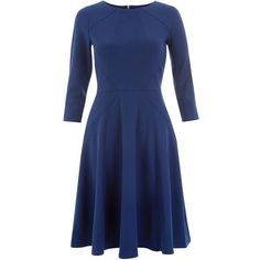 Closet Blue Panel Long Sleeve Dress ($74) ❤ liked on Polyvore featuring dresses, blue fit and flare dress, zipper dress, blue long sleeve dress, cinched waist dress and day to night dresses