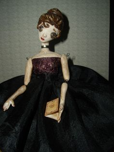 Lydia, The Lonely Librarian OOAK polymer clay goth doll, wire jointed/poseable