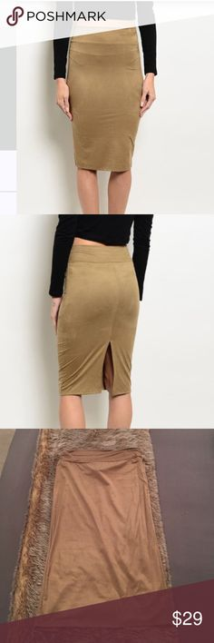 """FLASH SALE✨Brand new suede pencil skirt✨ ✨Price is FIRM unless bundled                                 ✨No trades                                                             ✨Same day or next day shipping                ✨Fabric: 92% polyester, 8% Spandex        ✨Made in the USA                                     ✨Not from listed brand, boutique brand            Use the """"Buy Now"""" button below or """"Add to Bundle"""" button above to purchase & select the size you need Nasty Gal Skirts Pencil"""