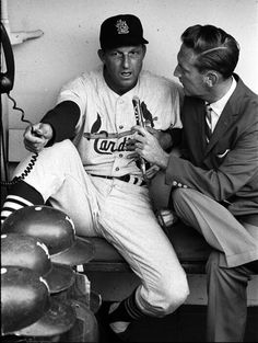 Vin Scully interviewing Stan before a game in 1963.