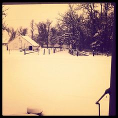 """7""""+ snow on the ground and still coming down.. The farm roads are gone and the horses are tucked away in the barn and I'm inside baking cookies praying for a snow day! :) #SWMissouri #firstsnow #winterfarm"""