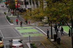 Protected and separated #bicycle lane on Dunsmuir Street, downtown Vancouver, #Canada