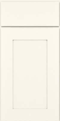 Drawer front view, Kraft Maid Square Recessed Panel profile, maple in Dove White