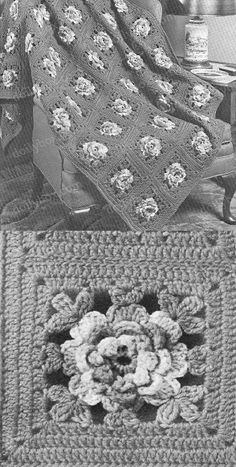 Rose In Bloom crochet free afghan pattern Afghan Patterns, Crochet Patterns, Crochet Hooks, Free Crochet, Clean Window, Window Blinds, Blooming Rose, Yarn Over, Crochet Projects