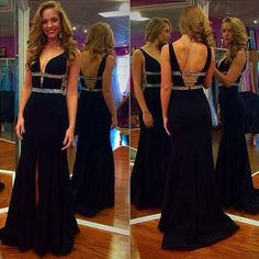 Plunge V-neck Prom Dress with Cut-out Detail, Sexy Black Prom Dresses with Front Split, Open Back Prom Dress