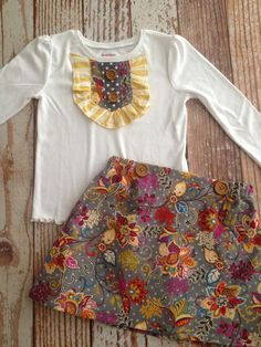 Ruffled Bib Shirt and Skirt Outfit - Girl, Toddler Girl - Gray Floral Corduroy on Etsy, $38.00