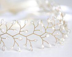Adornos para el pelo y tocados - Corona nupcial, corona, tiara, corona de la perla - hecho a mano por Arsiart en DaWanda