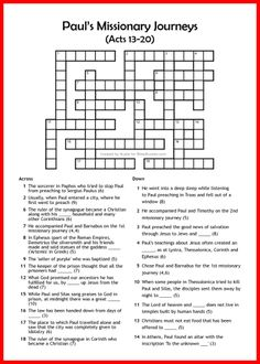 Paul's Missionary Journeys - Bible Crossword - Free - Printable Family Bible Study, Bible Study For Kids, Kids Bible, Paul's Missionary Journeys, Paul Bible, Bible Quiz, Bible Activities For Kids, Crossword Puzzles, Bible Lessons
