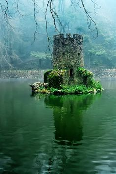 Mini castillo en un lago