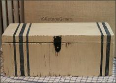 a Vintage Green: Milk Paint, Chalk Paint + Vintage Grain Sack Stripes Coffee Table in Basement.paint stripes on it! Painted Trunk, Painted Chest, Painted Boxes, Wooden Boxes, Milk Paint Furniture, Furniture Making, Painted Furniture, Diy Furniture, Unusual Furniture