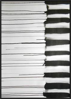 A1 Original Black & White Fine Art Modern Abstract by Manjuzaka