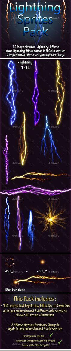 Lightning Effect Sprites - Sprites Game Assets