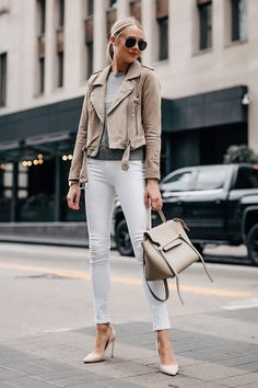984ff3bd189 Blonde Woman Wearing Blanknyc Tan Suede Moto Jacket Grey Sweater White  Skinny Jeans Nude Pumps Celine