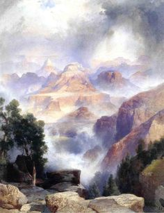 Thomas Moran A Showery Day, Grand Canyon hand painted oil painting reproduction on canvas by artist Western Landscape, Landscape Art, Landscape Paintings, Nature Paintings, Oil Paintings, Thomas Moran, Art Thomas, Grand Canyon, Hudson River School