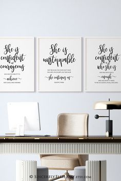 Instant download. Comes to you as high resolution Pdf and Jpg digital formats #strongwomen #officedecor #inspired #posters #wallartprintable #inspirational #instantdownload #etsydecor