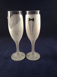 Wedding Bride  Groom Toasting Etched Champagne by MagicallyEtched