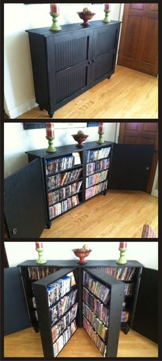 Dvd Storage Idea Living Room 25 Creative Hidden Storage Ideas for Small Spaces In 2020 Dvd Cabinets, Diy Casa, Hidden Storage, Book Storage Small Space, Storage For Books, Hidden Shelf, Extra Storage, Bedroom Storage Ideas For Small Spaces, Home Storage Ideas