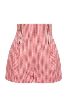 Versace Houndstooth Stretch Cotton Shorts In Red,white Shorts Outfits Women, Short Outfits, Casual Outfits, Fashion Outfits, Ankara Short Gown Styles, Short Gowns, Cute Summer Outfits, Cute Outfits, Versace Shorts